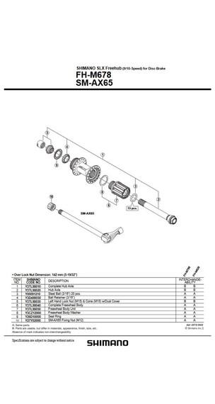 Shimano FH-M678/FH-M7010 zwart/zilver